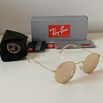 AU59.80 • Buy Ray-Ban Round Metal 50mm Gold Copper Flash Lens Sunglasses - RB3447 112/Z2 50-21