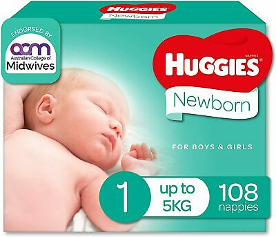 AU42.97 • Buy Huggies Ultimate Nappies, Unisex, Size 1 Newborn (Up To 5kg), 108 Count