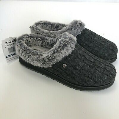 New Skechers Bob Slippers UK 8 Charcoal Memory Foam Slip On Rubber Sole  231565 • 20£