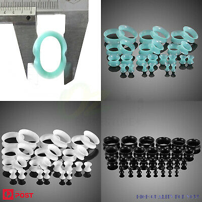 AU9.99 • Buy 3 PAIRS Thin Silicone Tunnels Flexible Hollow Ear Gauges Plugs Expander Piercing