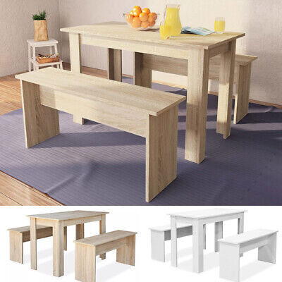 Modern Dining Table And 2 Bench Chair Set Kitchen Dining Room Wooden Furniture • 116.38£