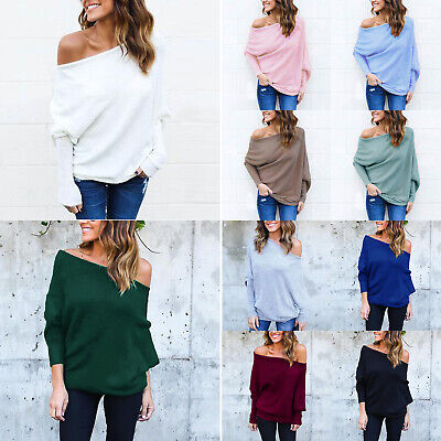 Womens Off The Shoulder Causal Knit Jumper Ladies Oversized Baggy Sweater Top UK • 10.99£