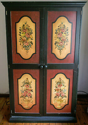 AU120 • Buy Beautiful Vintage Wardrobe In Black/Yellow And Red Colours. Original. St Ives