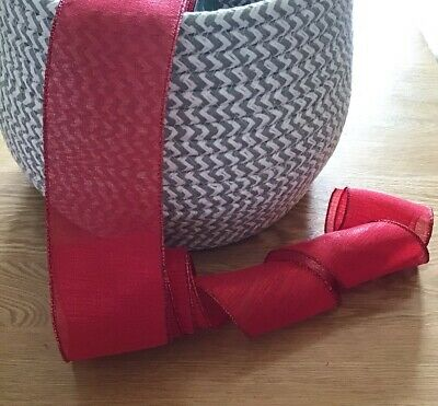 """Christmas Wired Ribbon ~ Red Shimmer  ~ 6.3cm/2.5"""" Wide ~ Crafts ~ Gift Wrapping • 1.80£"""