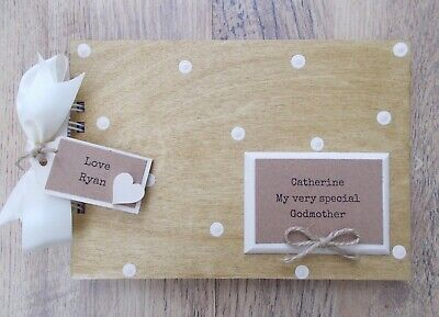 Personalised Special Godmother Wooden Scrapbook Photo Album Guest Book Gift • 17.95£