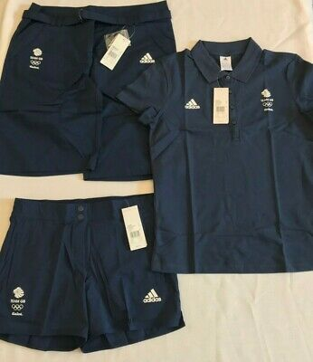 Adidas Team GB Blue Polo Shirt Cargo Shorts Running Shorts Womens Medium UK 14 • 25£