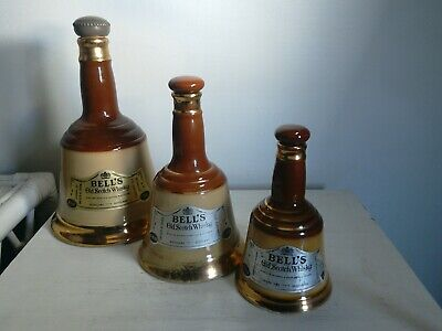 Three Empty Whisky Decanters - Bells By Wade - With Stoppers  • 15£