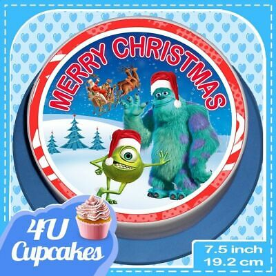 Precut Christmas Monsters Inc 7.5 Inch Edible Cake Topper Decoration  Cc80043 • 6.59£
