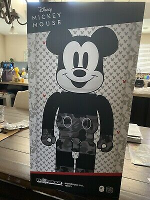$1400 • Buy Bearbrick X Bape Mickey Mouse Monotone 1000% A Bathing Ape Authentic New In Hand