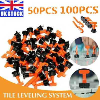 100pc Tile Leveling System Kits Leveler Tile Spacer Wall Floor Tool Construction • 8.49£