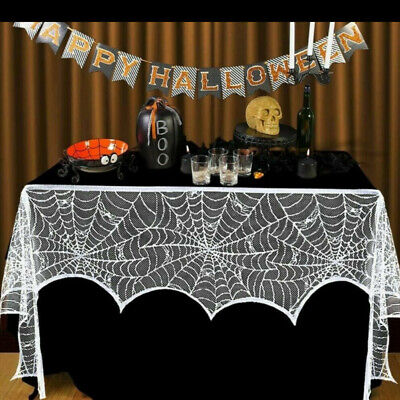 $ CDN6.80 • Buy Halloween Lace Cobweb Fireplace Cover Party TableCloth Christmas Decoration