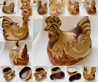 £22.99 • Buy Vintage Quantock Studio Pottery Chicken Form Large Lidded Dish For Eggs Rustic