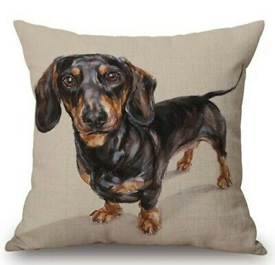Cute Linen Dachshund Cushion Cover Large Sausage Dog Lover • 12.99£