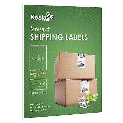 $10.99 • Buy 200 + 20 Extra Value Half Sheet Mailing Shipping Labels 8.5x5.5 Self Adhesive