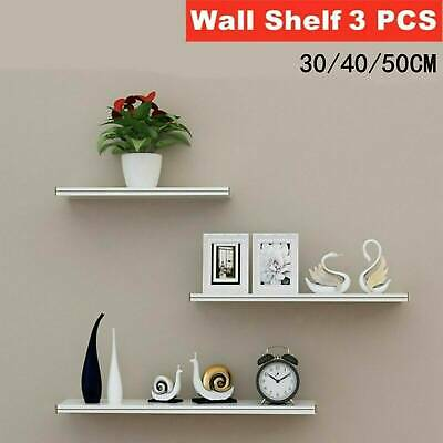 3 Floating Wooden Wall Mount Shelves Display Unit MDF Shelf Set Book Storage UK • 9.99£