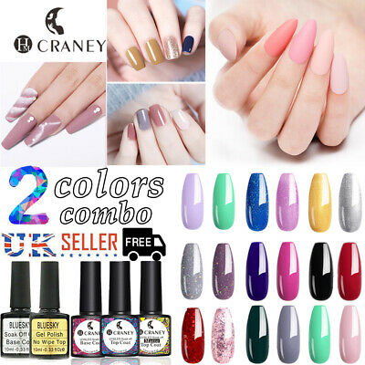 Craney 2pcs/set UV Gel Nail Polish Sequins Soakoff Varnish Bluesky Base Top Coat • 4.99£