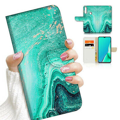 AU12.99 • Buy ( For Vivo Y12 / Y15 / Y17 ) Wallet Case Cover AJ23772 Green Marble Crystal