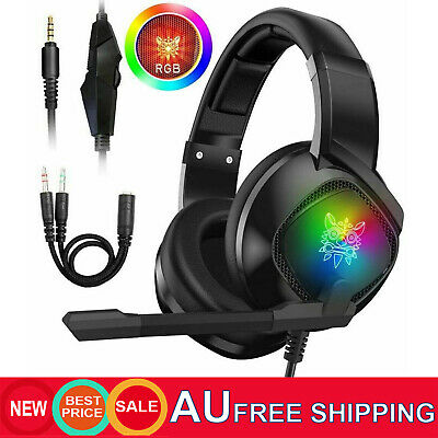 AU30.92 • Buy 💯ONIKUMA K19 3.5mm RGB Wired Stereo Gaming Headset For PS4/Xbox One/Laptop/PC