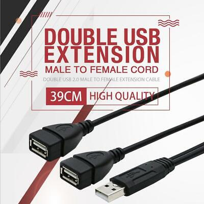 AU5.99 • Buy Double USB Extension Male To Female Y Cable Cord Power Adapter Splitter