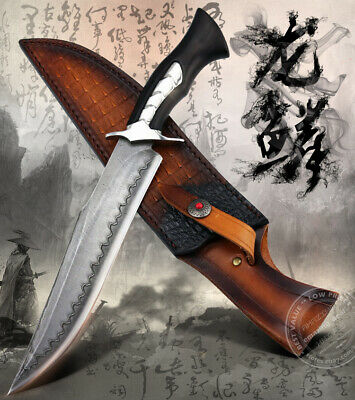$ CDN276.91 • Buy Hande Forged Damascus Hunting Knife Bowie Knives Survival San Mai Fixed Blade