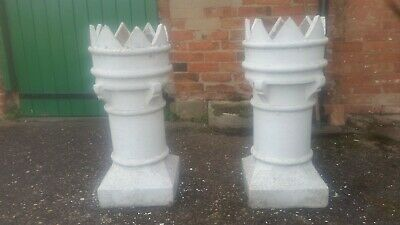 VICTORIAN CROWN CHIMNEY POTS (MATCHING PAIR OF), (Base 12 5/8 ) (Height 30 1/4 ) • 295£