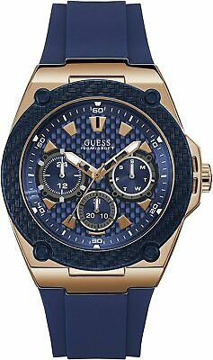 $ CDN109.61 • Buy Guess Men's W1049G2 Legacy Blue Silicone Strap With Blue Dial