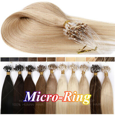 £92.09 • Buy THICK 100% Remy Human Hair Micro Loop Rings Bead Extensions Full Head 200S Link