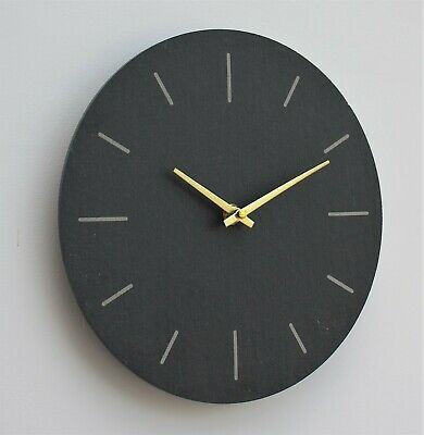 £14.95 • Buy Wall Clock Grey Natural Slate Indoor Outdoor Hand Finished Clock 30cm