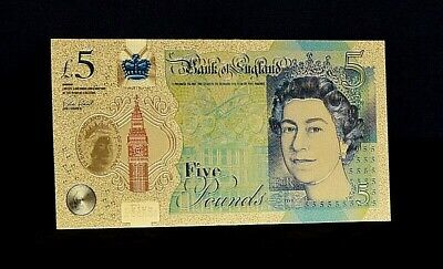 24 Carat Gold Leaf £5 Five Pound Note Collectable  • 1.95£