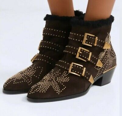 Chloe☆LIMITED EDITION☆ Susanna Shearling Suede BROWN Ankle Boots Shoes 7/40 BNIB • 700£