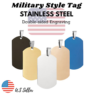 $5.95 • Buy Stainless Steel Patriotic Military Style Dog Tag Key Chain Engraved Personalized