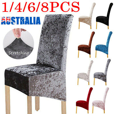 AU35.99 • Buy 1-8 PCS Dining Chair Covers Velvet Fabric Stretch Washable Wedding Banquet Party