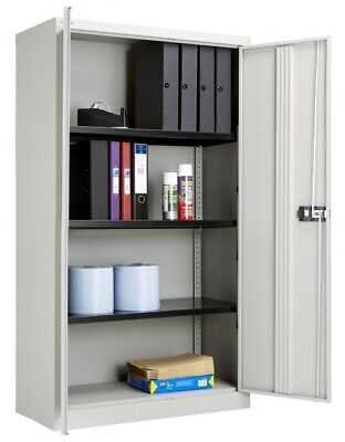 Bisley 2 Door 1970mm Cupboard With Shelves Goose Grey YECB0919 • 145£