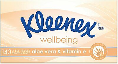 AU8.98 • Buy 2 X Kleenex 3 Ply Wellbeing Aloe Vera & Vitamin E Facial Tissues 140 Sheets