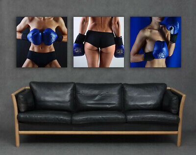 £64.99 • Buy Boxing Gloves Sexy Pin Up Lady Fit Set Of 3 Canvas Prints Pictures Art Blue Big