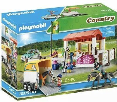Playmobil Country - 70325 Farm Trailer Stables Horse Horses Jeep Car Riding NEW • 54.95£