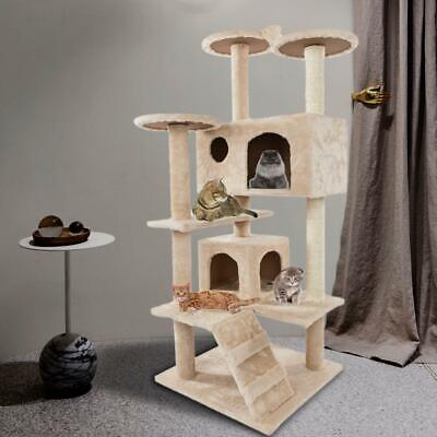 Cute Sisal Rope Plush Cat Climbing Tower  Scratching Post Activity Centre • 35.95£