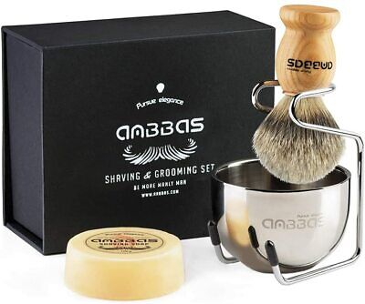 Men Shaving Kit Badger Hair Brush Holder Brush Bowl Mug Cup Soap Grooming Set • 13.99£