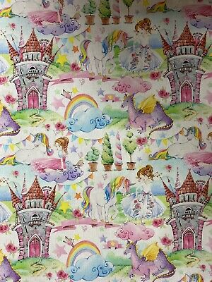 Fairytale Princess Castle Unicorn Dragon 100% Cotton Fabric By HALF METRE W150cm • 5.50£