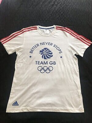 Adidas Team GB Shirt Running Athletics Olympic Mens Blue / White • 12£