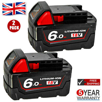 2X For Milwaukee M18 18V Extended Capacity Battery Lithium XC 6.0 AH 48-11-1860 • 42.99£