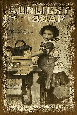 Sunlight Clothes Soap Advert Vintage Look Retro Style Metal Sign Plaque, Laundry • 3.99£
