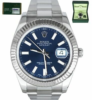 $ CDN11989.90 • Buy MINT Rolex Datejust II 2 41mm Blue 116334 Stainless Fluted 18K White Gold Watch