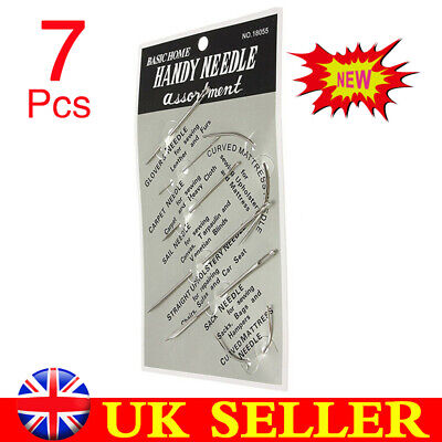 7Pack Repair Upholstery Silver Hand Sewing Needles Carpet Leather Curved Canvas • 0.99£
