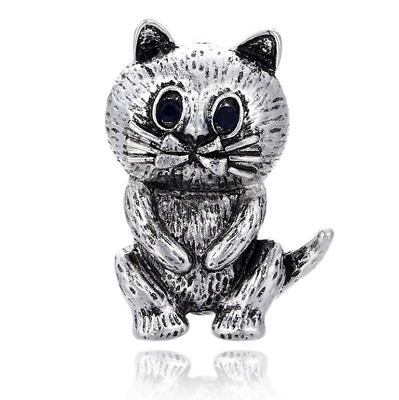 Cat Pin Badge Brooch Cat Lover Gift Silver Rhinestone Jewellery Vintage Style UK • 4.75£