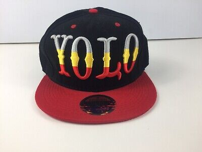 AU20 • Buy Yolo Mens Cap Hat You Only Live Once New Snapback Zephyr Black Red
