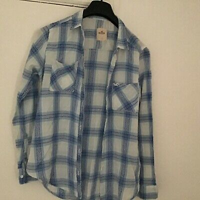 HOLLISTER WOMENS BLUE WHITE CHECK SHIRT EX CONDITION Size Large • 5.50£