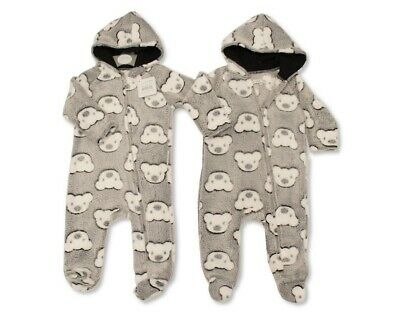 Baby Boys Girls Bear Fleece All In One Sleepsuit Hooded Romper 1Onesie Babygrow • 7.95£