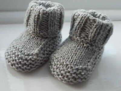 New - Hand Knitted Baby Bootees - Grey - Size 0-3 Months • 1.95£