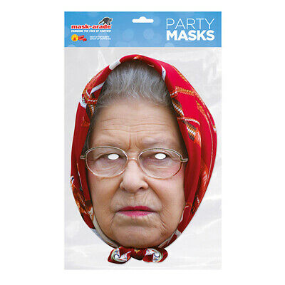 Queen Headscarf CELEBRITY PARTY MASKS MASK FUNNY STAG CARDBOARD FACE  • 2.99£